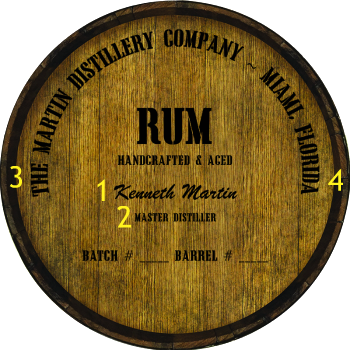Personalized Barrel Head Sign - Rum Distillery Warehouse Hoop Head - Personalization Options