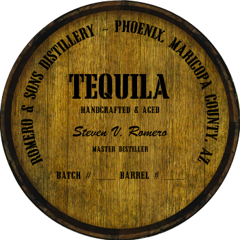 Personalized Barrel Head Sign - Tequila Distillery Warehouse Hoop Head