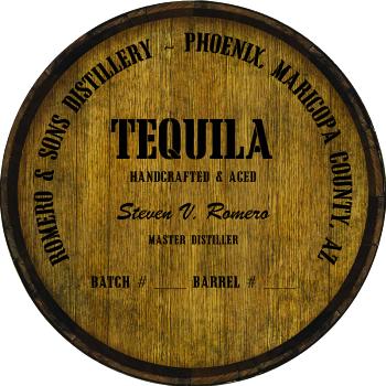 Personalized Barrel Head Sign - Tequila Distillery Warehouse Hoop Head