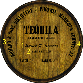 Personalized Barrel Head Sign - Tequila Distillery Warehouse Hoop Head - Personalization Options