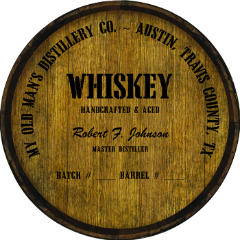 Personalized Barrel Head Sign - Whiskey Distillery Warehouse Hoop Head