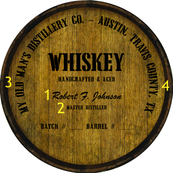 Personalized Barrel Head Sign - Whiskey Distillery Warehouse Hoop Head - Personalization Options