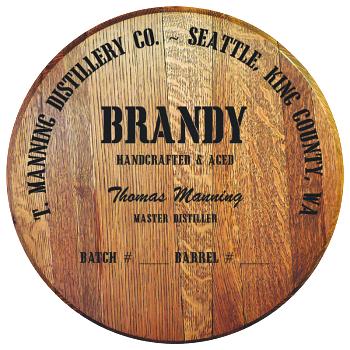 Personalized Barrel Head Sign - Brandy Distillery Warehouse