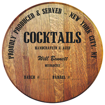 Personalized Barrel Head Sign - Cocktails Distillery Warehouse