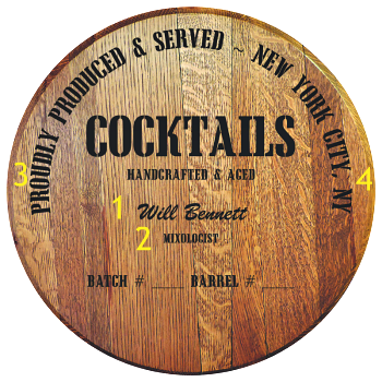 Personalized Barrel Head Sign - Cocktails Distillery Warehouse - Personalization Options