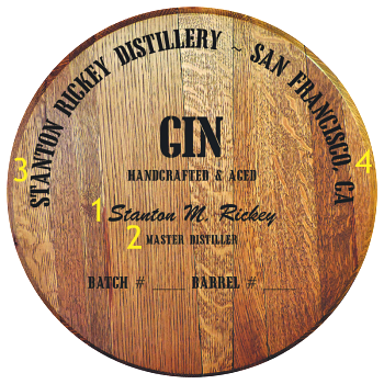 Personalized Barrel Head Sign - Gin Distillery Warehouse - Personalization Options