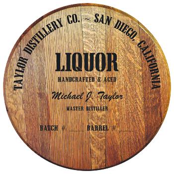 Personalized Barrel Head Sign - Liquor Distillery Warehouse