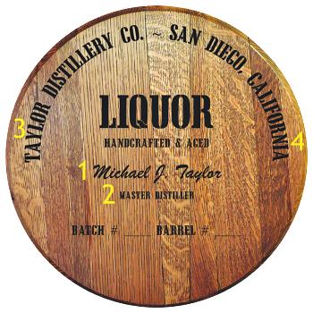 Personalized Barrel Head Sign - Liquor Distillery Warehouse - Personalization Options
