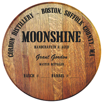 Personalized Barrel Head Sign - Moonshine Distillery Warehouse