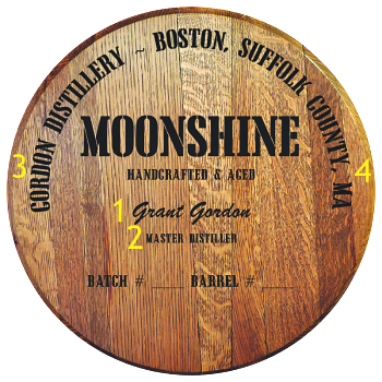 Personalized Barrel Head Sign - Moonshine Distillery Warehouse - Personalization Options
