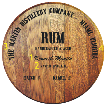 Personalized Barrel Head Sign - Rum Distillery Warehouse - Personalization Options