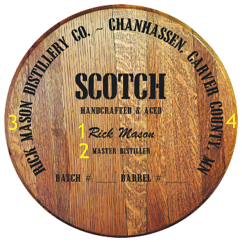 Personalized Barrel Head Sign - Scotch Distillery Warehouse - Personalization Options