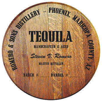 Personalized Barrel Head Sign - Tequila Distillery Warehouse