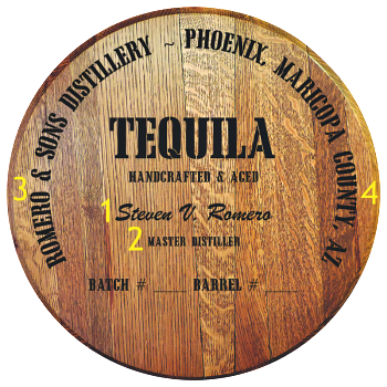 Personalized Barrel Head Sign - Tequila Distillery Warehouse - Personalization Options