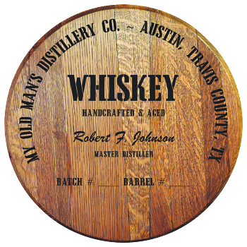 Personalized Barrel Head Sign - Whiskey Distillery Warehouse