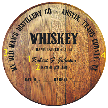 Personalized Barrel Head Sign - Whiskey Distillery Warehouse - Personalization Options