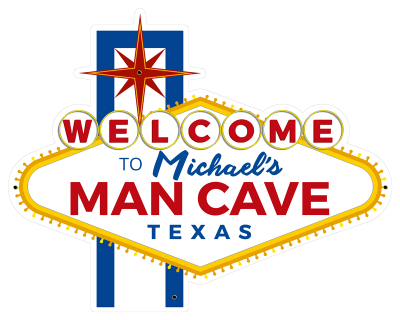 Personalized Man Cave Welcome Metal Sign - Day