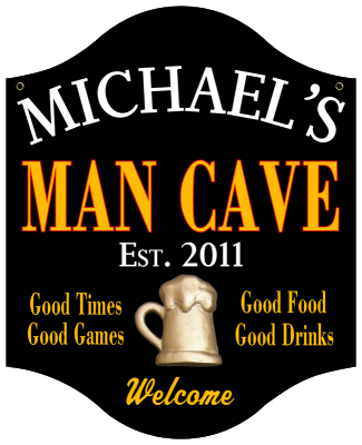 Personalized Man Cave Sign with Beer Mug - Metal