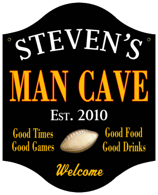 Personalized Man Cave Sign with Football - Metal