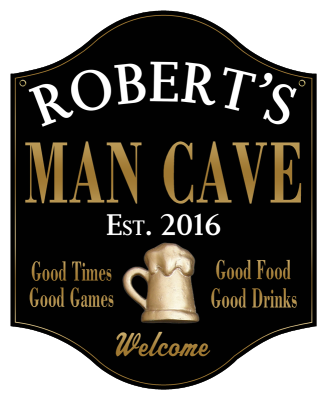 Personalized Man Cave Sign with Beer Mug 2 - Metal