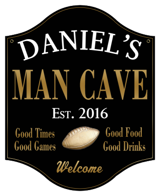 Personalized Man Cave Sign with Football 2 - Metal