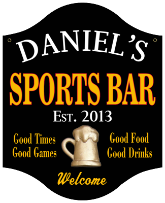 Personalized Sports Bar Sign with Beer Mug - Metal