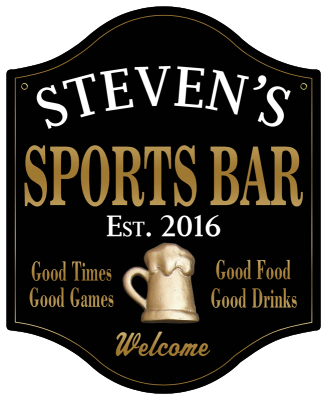 Personalized Sports Bar Sign with Beer Mug 2 - Metal