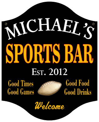Personalized Sports Bar Sign with Football - Metal