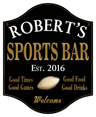 Personalized Sports Bar Sign with Football 2 - Metal