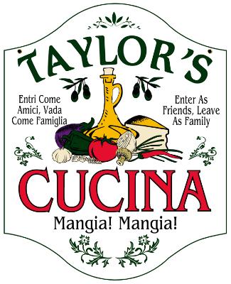 Personalized Cucina Mangia Sign Metal