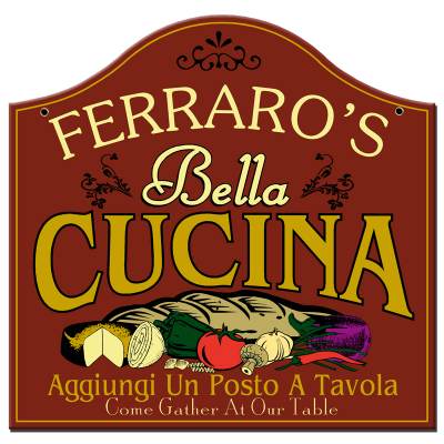 Personalized Bella Cucina Sign - Metal