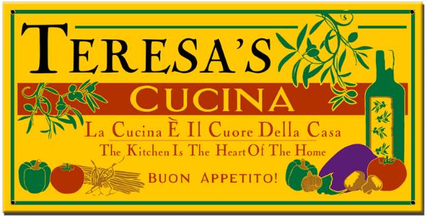 Personalized Cucina Buon Appetito Sign - Metal