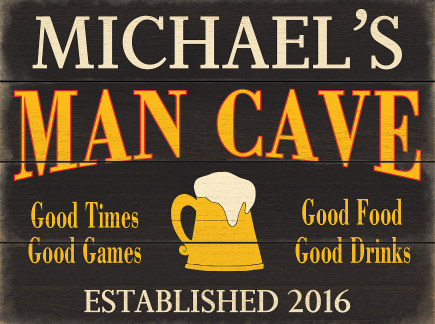 Personalized Man Cave Planked Wood Sign - Beer Mug - LARGE