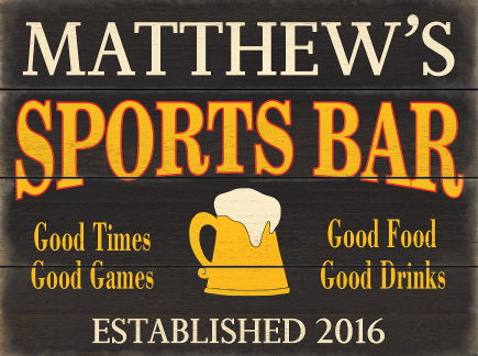 Personalized Sports Bar Planked Wood Sign - Beer Mug - LARGE