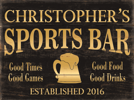 Personalized Sports Bar Planked Wood Sign - Gold Beer Mug
