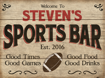 Personalized Sports Bar Planked Wood Sign Football