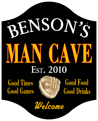 Personalized Man Cave Sign with Baseball - Metal