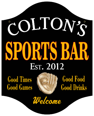 Personalized Sports Bar Sign with Baseball - Metal