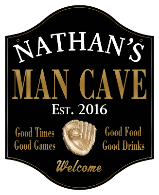 Personalized Man Cave Sign with Baseball 2 - Metal