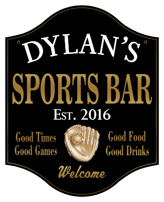 Personalized Sports Bar Sign with Baseball 2 - Metal