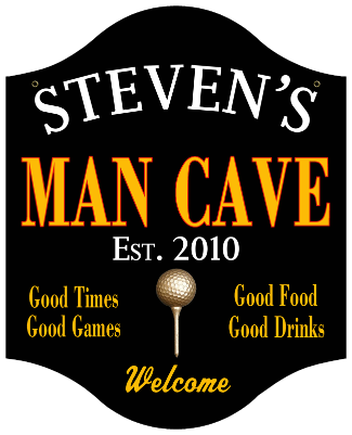 Personalized Man Cave Sign Golf - Metal