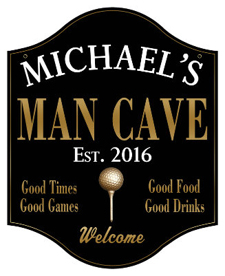 Personalized Man Cave Sign Golf 2 - Metal