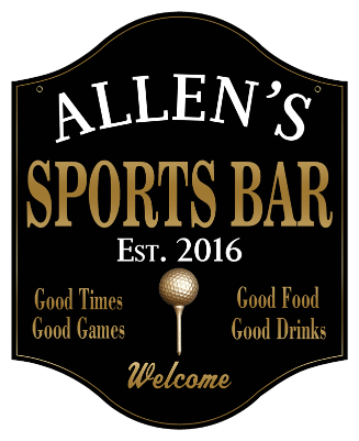 Personalized Sports Bar Sign Golf 2 - Metal