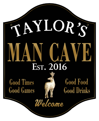Personalized Man Cave Sign with Deer 2 - Metal