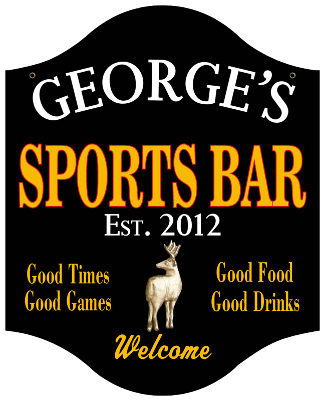 Personalized Sports Bar Sign with Deer - Metal