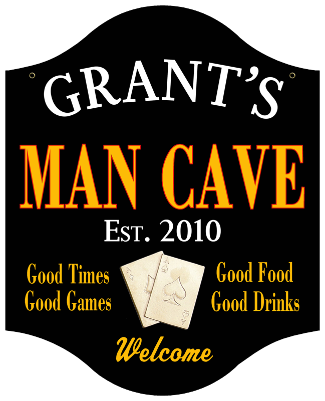 Personalized Man Cave Sign Poker - Metal