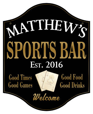 Personalized Sports Bar Sign Poker 2 - Metal