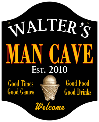 Personalized Man Cave Sign Basketball - Metal