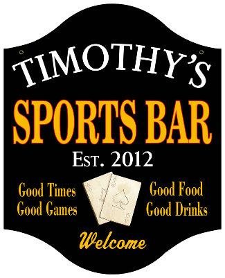 Personalized Sports Bar Sign Poker - Metal