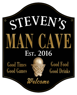 Personalized Man Cave Sign Basketball 2 - Metal